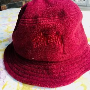 Stussy Fleece Bucket Hat Maroon
